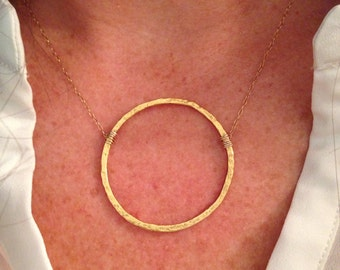 Hammered Gold Hoop Necklace - Large Hoop