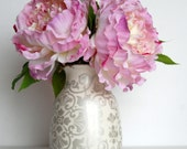 Silk Pink Peony in White and Gray Ceramic Vase Floral Arrangement