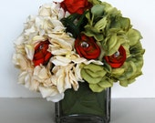 Cream and olive green Hydrangeas and Orange Roses and Ranunculus Silk Floral Arrangement