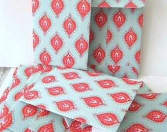 Turquoise and red Marrakesh envelopes Small gift card note envelopes. Qty 12 - 4-1/4 x 2-3/4 in