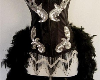 Pick Size-Black Brocade Sequin Showgirl Saloon Girl Can Can Moulin Burlesque Costume w/Feather Train
