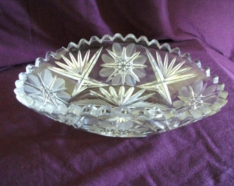 Engraved Glass Candy or Relish Dish
