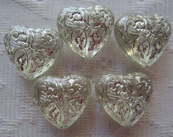 4  Crystal Clear & Silver Etched Ornate Transparent Heart Acrylic Beads  24mm x 11mm