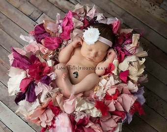 Pink and White Baby Girl Headband Shabby Flower - Newborn Headband - Infant Headband - Baby Headband - Toddler Headband - Shabby Chic