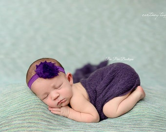 Purple Headband - Shabby Flower - Newborn Headband - Infant Headband - Baby Headband - Toddler Headband