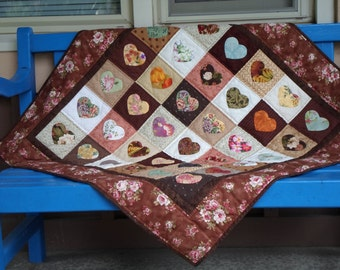 Handmade Baby Quilt Cotton Hearts