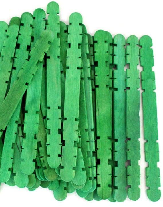 100 Green Notched Hobby Craft Sticks by CraftySticks on Etsy