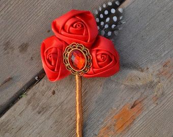 wedding fabric flower boutonniere vintage style rose more color