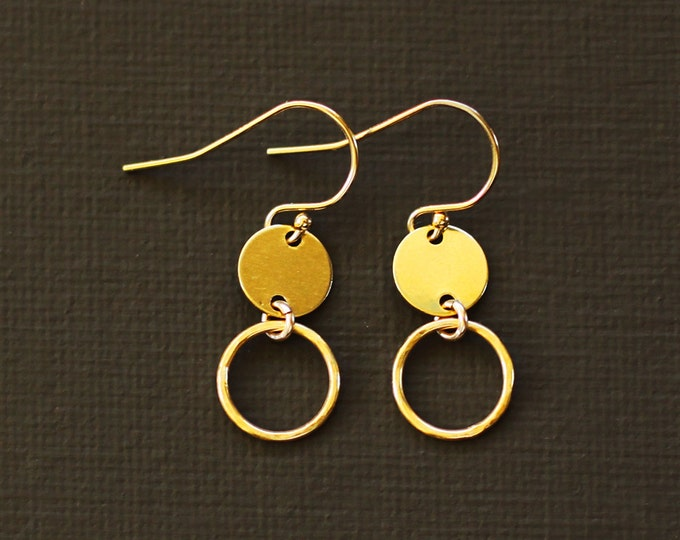 Minimalist Gold Disc Earrings - Simple Everyday Earrings