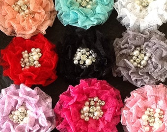 Your color choice! Lace, pearl and rhinestone hair clip, lace hair clip, lace hair accessory, girls hair clip, hair accessory.
