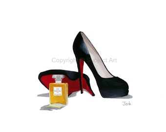 Art Print of CHRISTIAN LOUBOUTIN Black Shoes, Chanel No.5, Fashion Gifts, Wall Art