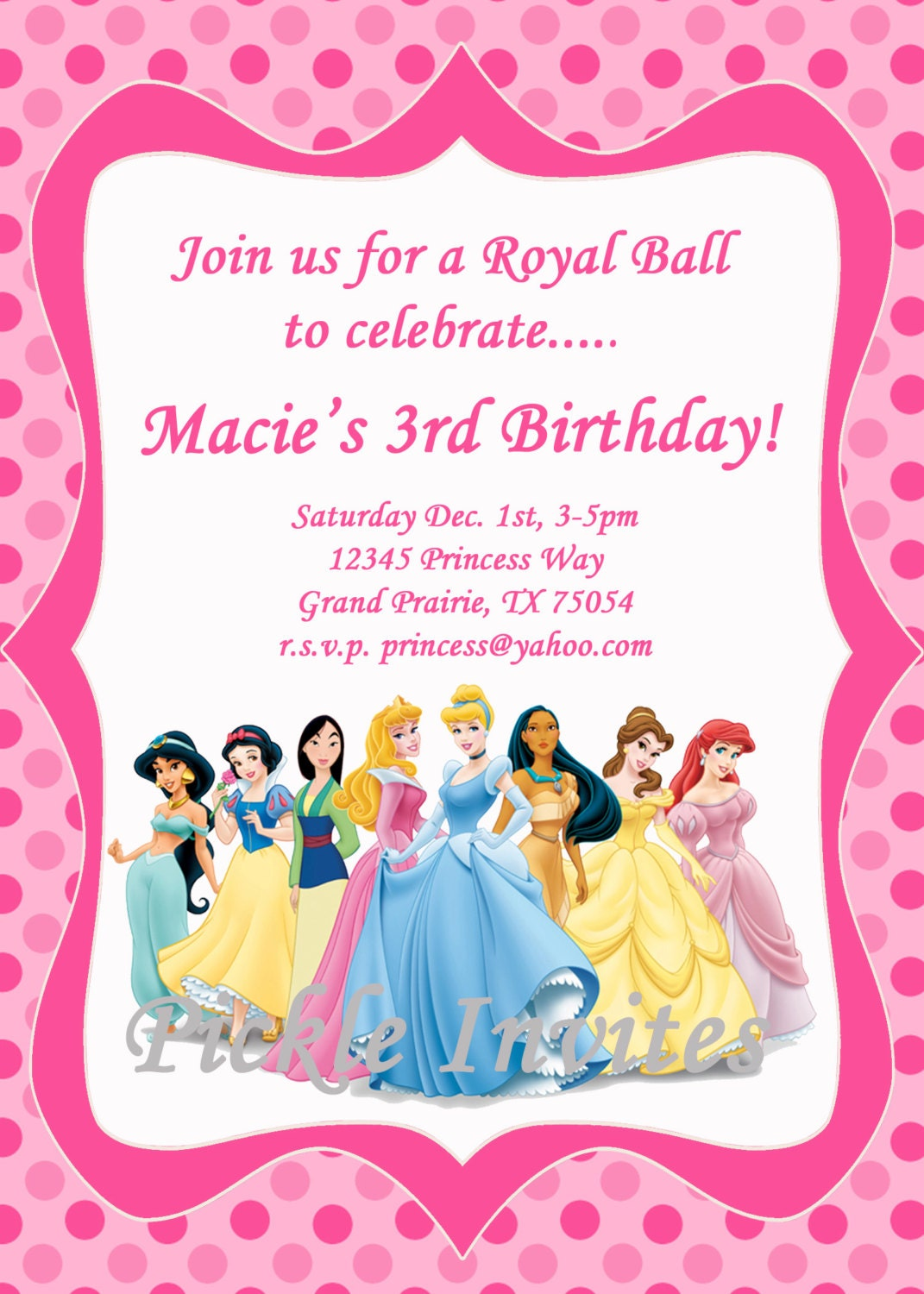 Cinderella Princess Invitation and Thank You Card Printable – Yahoo Greeting Cards Birthday