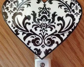 Damask black and white hand crafted nursery night light, very pretty