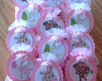 JUNGLE JILL MONKEY baby shower party favors, set of 12, adorable,hand crafted