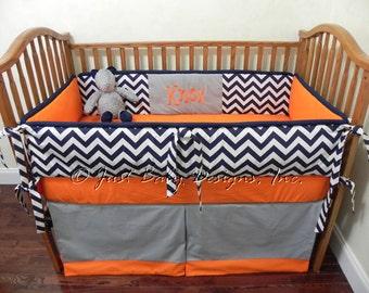 Custom Baby Bedding Set Knox -  Boy Crib Bedding, Navy Chevron with Orange and Gray