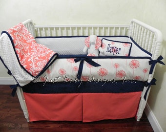 Custom Baby Bedding Set Harper - Girl Crib Bedding, Coral Baby Bedding, Navy Baby Bedding, Custom Nursery Bedding