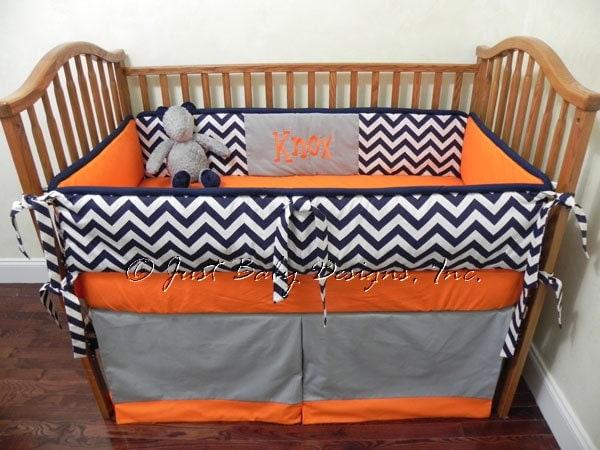 Custom Baby Bedding Set Knox Boy Crib Bedding Navy Chevron