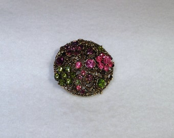 Pink Purple and Green Vintage Brooch