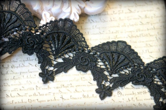 Black Venice Lace Trim for Applique, Altered Art, Costumes, Lace Jewelry, Headbands, Sashes, Sewing, Crafts LA-140