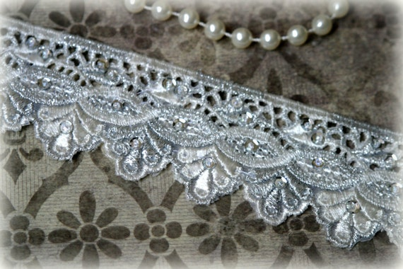Ivory and Silver Lace Trim with Sequins Detailes for Bridal, Costume Design, Lace Jewelry, Millinery Design, Crafting LA-151