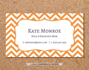 Business Card Template - Orange Chevron -  DIY Editable Word Template, Instant Download, Printable