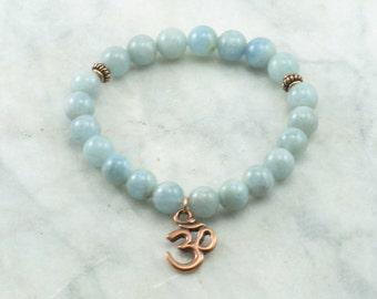 Sea Mala Bracelet - 21 Aquamarine Mala Beads, OM, Yoga, Meditation, mala for Soothing, calming, cooling, and communication.