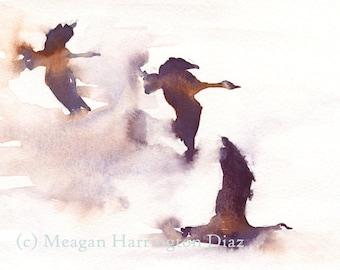 Bird Painting - Flying Geese - Fine Art Print - Geese Watercolor