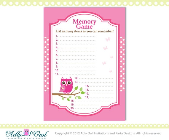 owl memory game game baby shower printable for a pink girl owl baby