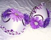 Purple Embellished custom rave bra