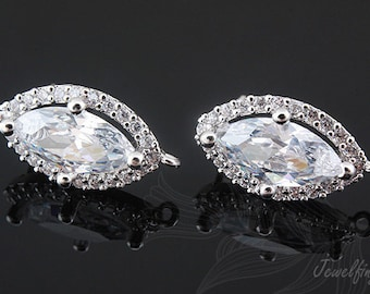 C1040-10 pairs-Rhodium Plated- CZ post earring