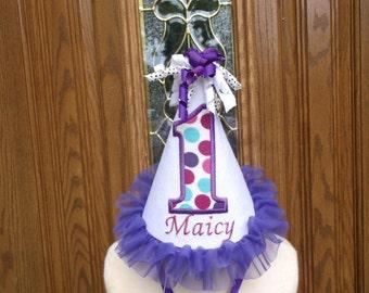 Girls First Birthday Party Hat - White & Purple Birthday Hat  - Free Personalization
