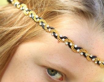 Women's Braided Rhinestone Boho Rhinestone Headband - Boho Prom Headband - Bridesmaid Headband - Art Deco Bridal Headband