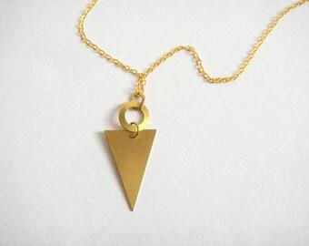 Brass  Necklace,Brass Triangle Necklace