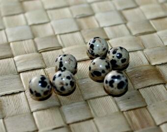 Dalmatian Jasper Round Natural Stone Beads, 8mm rounds - 7 Beads