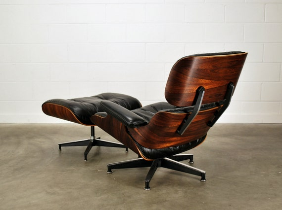 Early Eames Lounge Chair Rosewood And Black Leather Herman