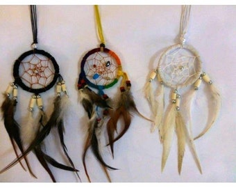 D1-Dream Catcher Necklace (Choose your color Dark, rainbow, white)