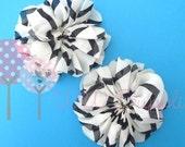 "CLEARANCE Set of 2 Unfinished Ballerina Flowers - 3.5"" Ballerina Flowers in White & Black Chevron"