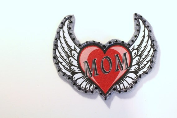 Applique, I Love Mom, Heart with Wings Applique for Clothing, Backpacks, Jeans, T Shirts, Hats