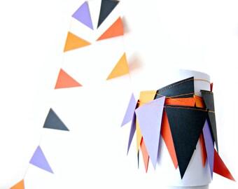 Halloween Flag Triangle Garland - Halloween Garland, halloween decoration, party decor, kids room decor, black and purple garland