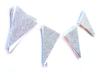 Silver glitter flag garland,  - shimmer garland, silver shimmer garland, glitter bunting, silver glitter wedding, party decor,