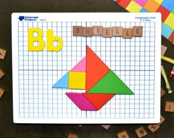Tangram Block Wall Picture ( B for Boat or S, Sail ) Colorful Geometry Shape & Letter Recognition Art - Any Word with Sailor Nautical Theme