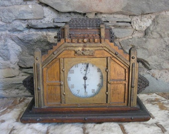 Funky Tramp Art Mantel Clock with W.L.Gilbert Clock Inside