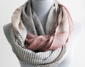 on sale Colorblock Infinity Scarf Fall Infinity Scarf Gray Stripe and Color Block Infinity Scarf Chunky and Silky Khaki Scarf Infinity Scarf