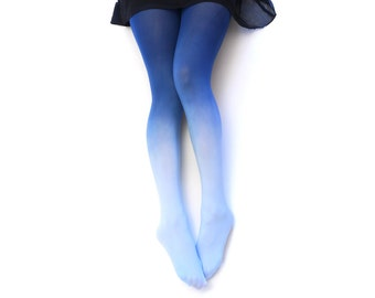 Ombre Tights.  SPRING INDIGO Hand dyed