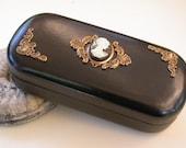 Victorian Cameo Large Eyeglass Case - Black Leather Hard Eye Wear Case - Eye Glass Accessories