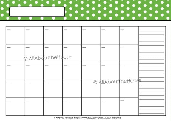 Editable 12 Polka Dot Calendars You Choose 2015 2016 And