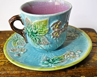 Damaged Antique Majolica Demitasse Cup and Saucer, majolica pottery, vintage, cup is damaged, #878