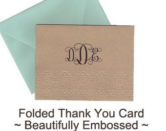 Qty. 25 Blind Embossed Custom Notecards - Thank You Notes - Blank Envelopes