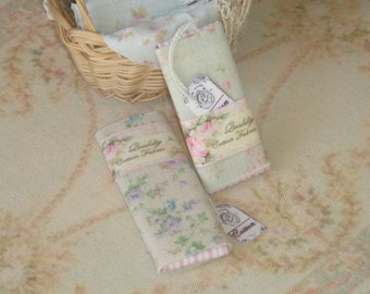 Dollhouse two bolts of shabby fabric. 1:12 Dollhouse Miniature Sewing items.