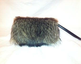 Close Out - Genuine Raccoon Fur Clutch Purse
